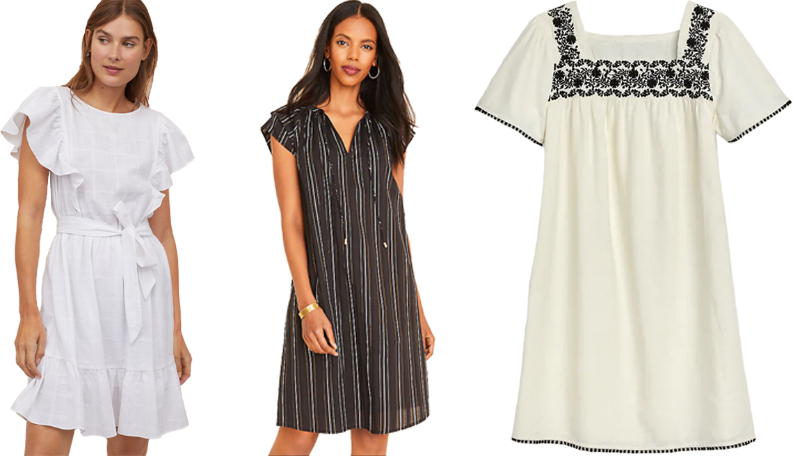 item 7, Gallery image. (Left to right) H&M Flounce-Trimmed Dress in White; Ann Taylor Metallic Stripe Tie Neck Shift Dress in Black; Old Navy Embroidered-Yoke Square-Neck Linen-Blend Shift Dress for Women in Creme de la Creme