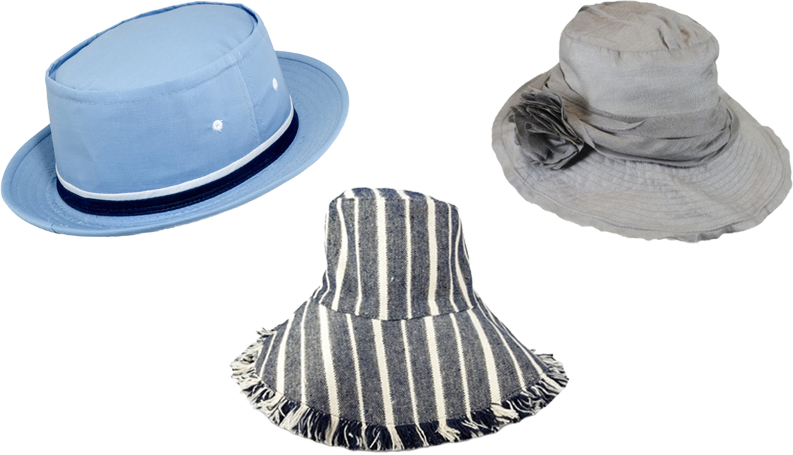 item 10 of Gallery image - Dorfman Pacific Rollup Bucket Hat Jeanne Simmons Slanted Brim Hat Hat Attack New York Canvas Packable Hat in Navy Stripe