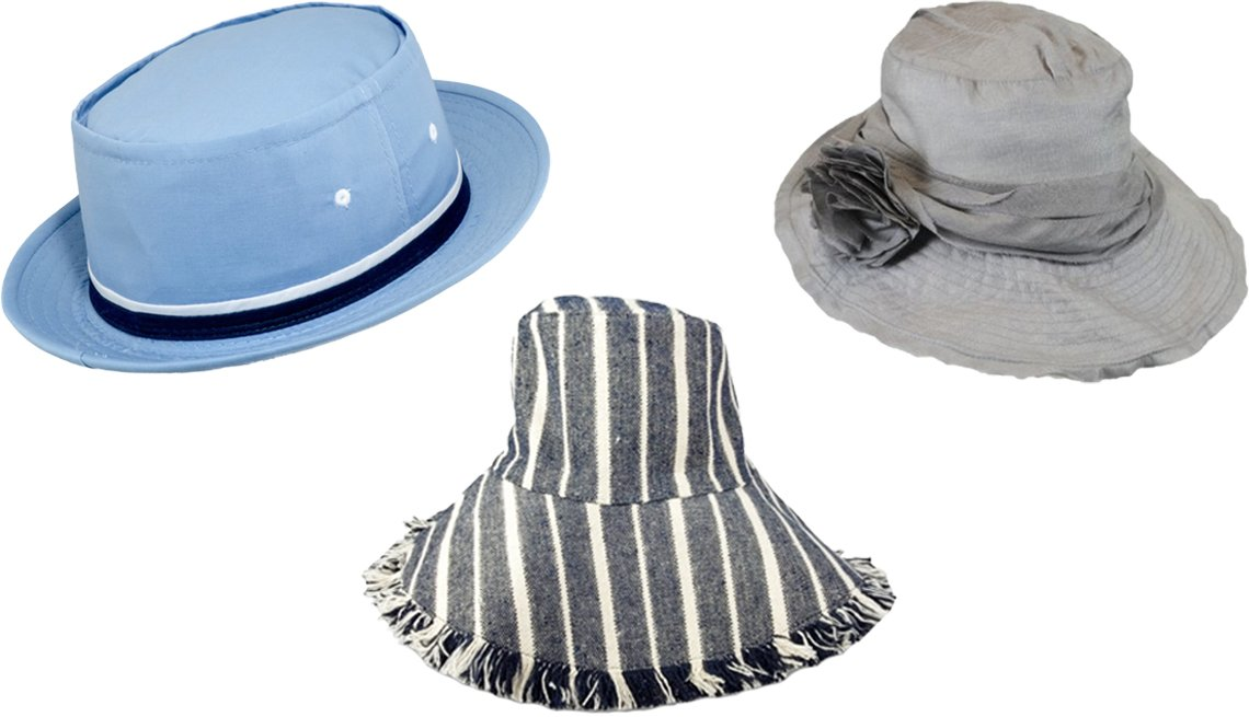 "item 10, Gallery image. (Clockwise from top left) Dorfman Pacific Rollup Bucket Hat; Jeanne Simmons Slanted 4.5"" Brim Hat; Hat Attack New York Canvas Packable Hat in Navy Stripe"