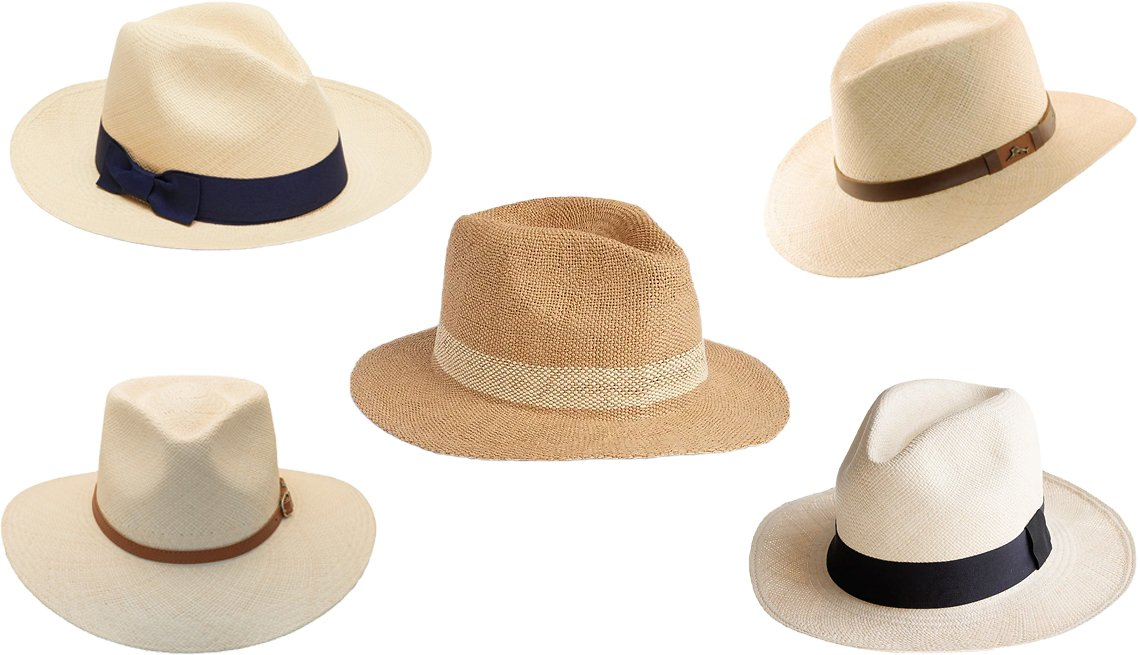 item 3, Gallery image. (Clockwise from center) Gap Panama Hat; Tommy Bahama Men's Remy; J. Crew Panama Hat; Bigalli Grade 3 Australian Outback Panama Hat; Cuyana Panama Hat