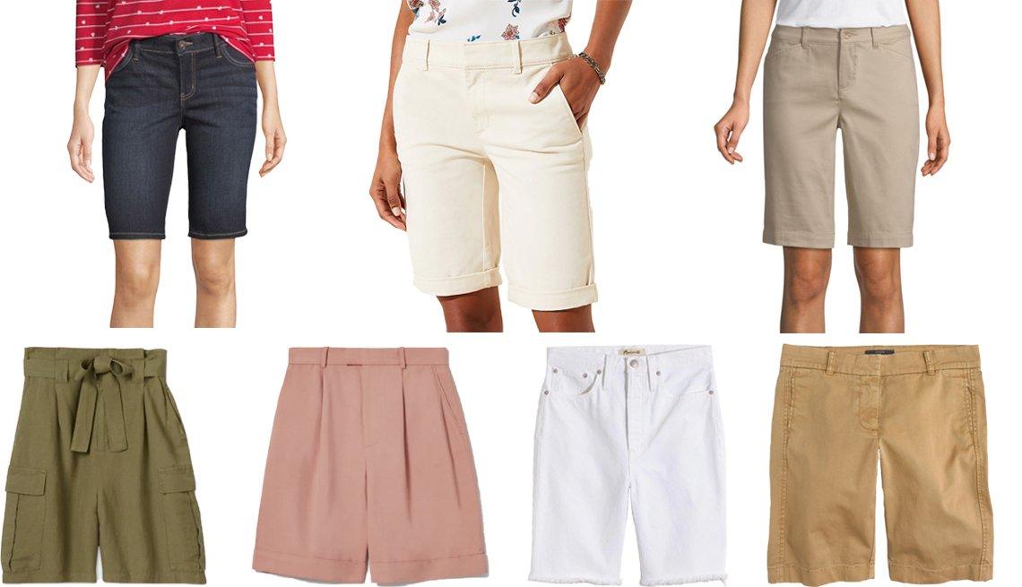 Bermudas elásticas de Liz Claiborne; bermudas de Loft; bermudas de St. John's Bay; shorts de sarga de J.Crew; shorts de mezclilla largos de Madewell; shorts de vestir plisados de Everlane; shorts tipo bermudas de A New Day