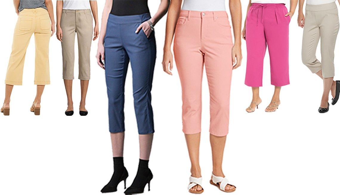 Pantalones al tobillo de pierna ancha de Sonoma Goods for Life; pantalones capri de tiro medio en color biscotti de St. John's Bay; pantalones capri de frente plano moderno en azul grisáceo de Simply Vera Wang; pantalones capri de Croft Barrow