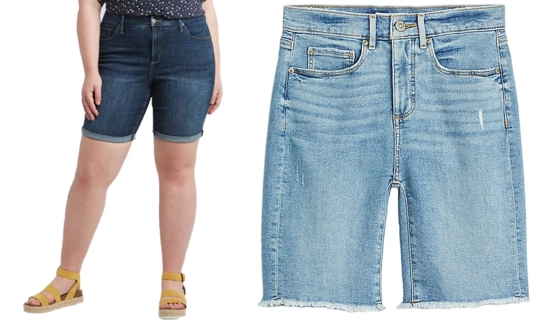 Universal Thread Womens Plus Size Mid Rise Bermuda Jean Shorts and Loft Frayed High Rise Skinny Bermuda Shorts in Medium Vintage Indigo Wash