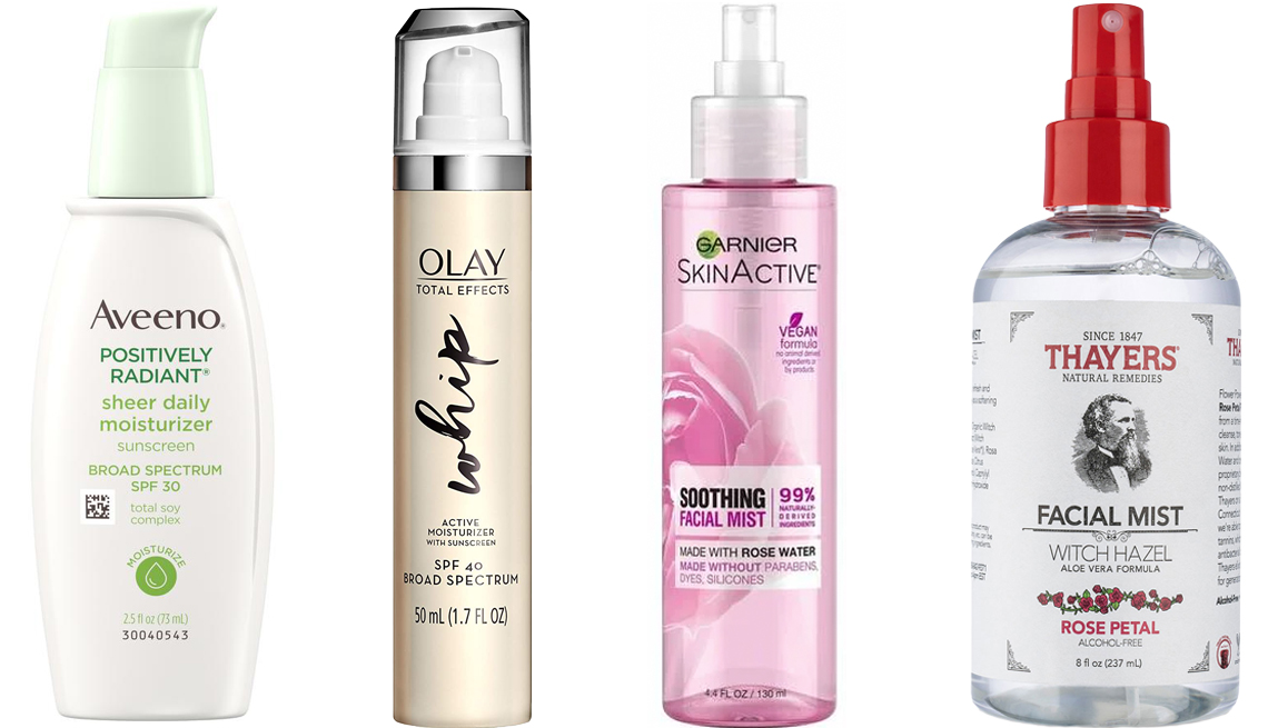 item 3, Gallery image. (Left to right) Aveeno Positively Radiant Sheer Daily Moisturizing Lotion Dry Skin SPF 30; Olay Total Effects Whip Face Moisturizer with Sunscreen SPF 40; Garnier SkinActive Soothing Facial Mist with Rose Water; Thayers Alcohol-Free Rose Petal Witch Hazel Mist Toner