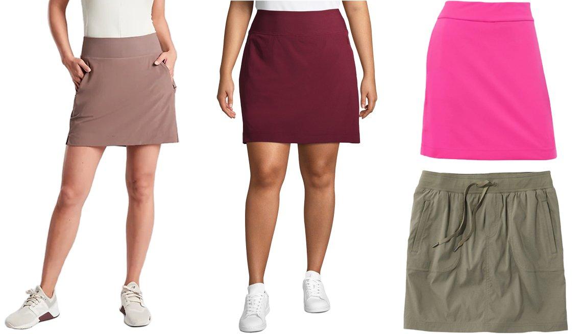 Falda-pantalón en color marrón mineral de Athleta Soho; falda deportiva de talla grande en color vino tinto para mujer de Athletic Works; falda de golf de 17.5 pulgadas para mujer en color rosa brillante de EP Pro; falda-pantalón para mujer de Vista Camp