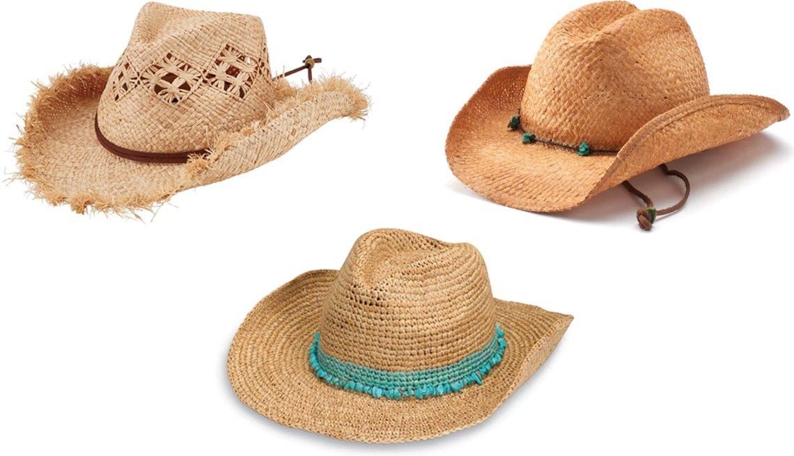 item 11, Gallery image. (Clockwise from top left) San Diego Hat Company Women's Raffia Cowboy style # RHC1076; Women's Scala Raffia Western Cowboy Hat with Chin Cord; Wallaroo Tahiti Cowboy in Tahiti Cowboy-Turquoise