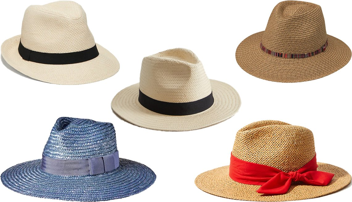 item 2, Gallery image. (Clockwise from center) Mango Straw Fedora; Wallaroo Sedona in Camel; Loft Bow Straw Fedora in Cayenne Pepper; Brixton Joanna Hat in Blue; Old Navy Straw Ribbon-Trim Fedora for Men in Natural Straw/Black Grosgrain
