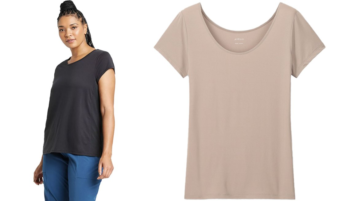 item 8, Gallery image. All In Motion Women's Cap Sleeve Perforated T-Shirt (left) and an Uniqlo Women Airism Scoop Neck Short Sleeve T-Shirt (right)