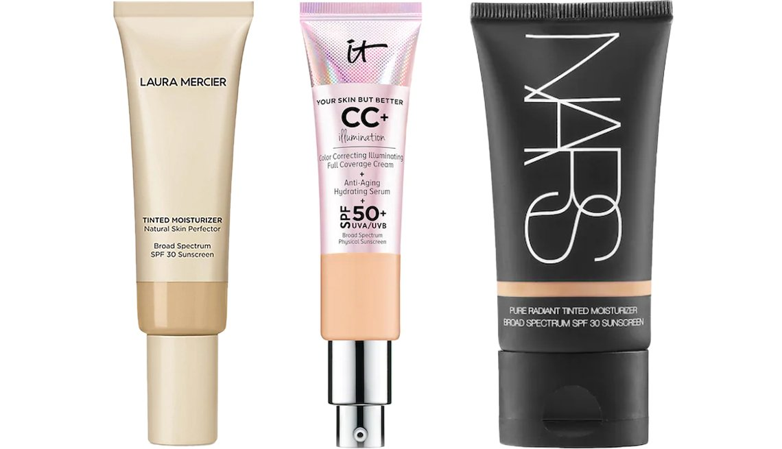 item 5, Gallery image. (Left to right) Laura Mercier Tinted Moisturizer Natural Skin Perfector Broad Spectrum SPF 30; IT Cosmetics CC+ Cream Illumination with SPF 50+; Nars Pure Radiant Tinted Moisturizer Broad Spectrum SPF 30
