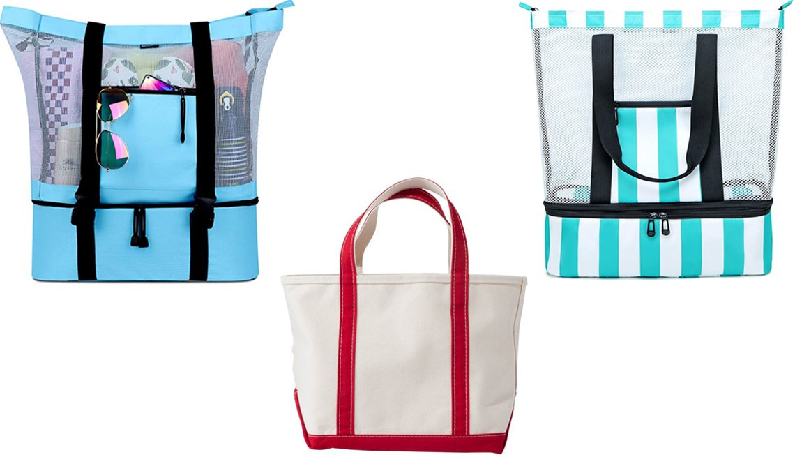 item 4, Gallery image. (Clockwise from top left) FitFort Mesh Beach Tote Bag with Detachable Beach Cooler; Blueboon Mesh Beach Tote Bag with Cooler Compartment; L.L. Bean Boat and Tote Bag Open-Top