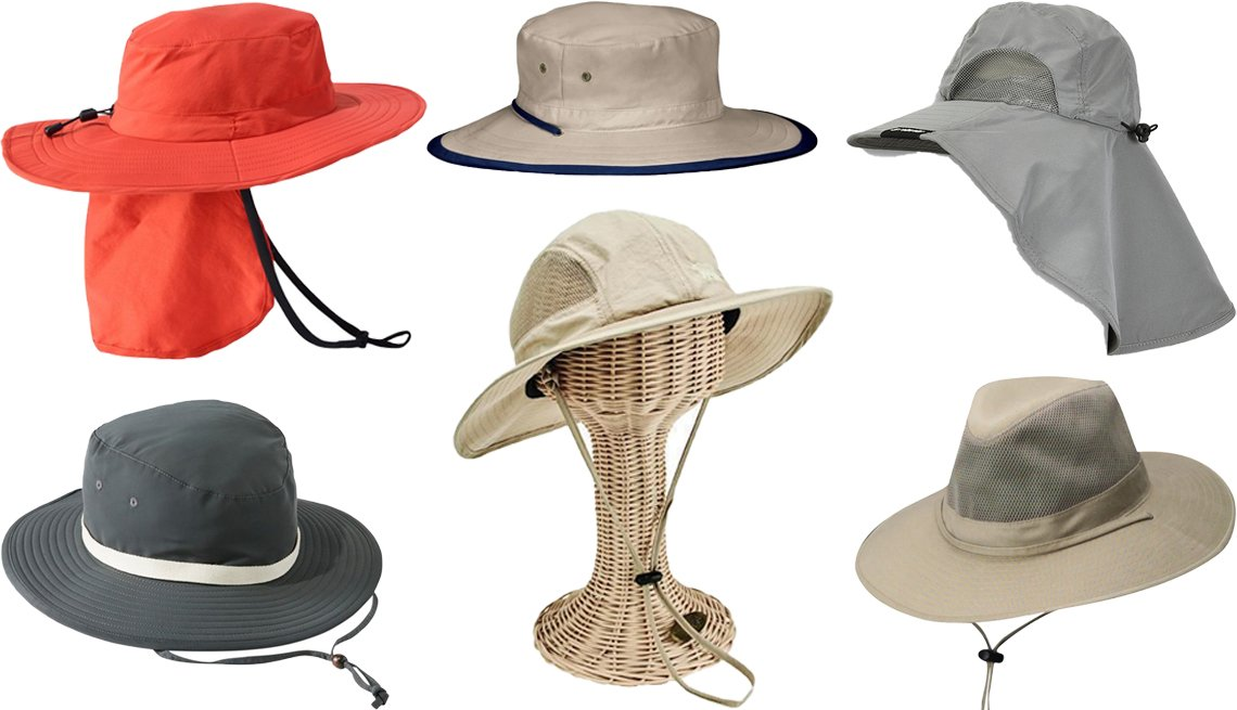 item 7, Gallery image. (Clockwise from top left) L.L. Bean Adults' Tropicwear Outback Hat; Wallaroo Explorer; Tirrinia Safari Sun Hats for Women Fishing Hiking Cap with Neck Flap; DPC Solarweave Mesh Safari Hat-Men; San Diego Hat Company Women's Mesh Sun Hat style # OCW47090SKHK; L.L. Bean Women's Pistil Ginnie Sun Hat