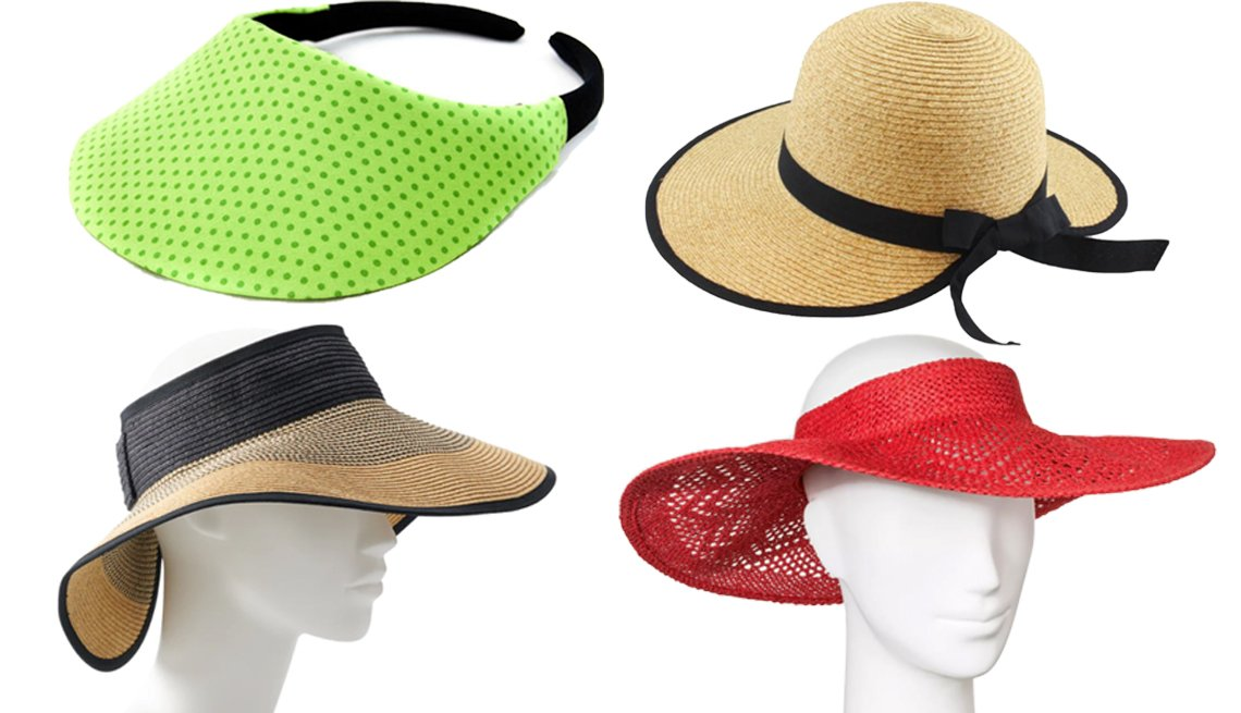 item 9, Gallery image. (Clockwise from top left) No Headache Midsize Polka Dot Visor Hat in Chartreuse; California Hat Company Ladies Sewn Braid Visor Hat; A New Day Women's Crochet Visor Hat in Red; Women's Sonoma Goods for Life Colorblock Roll-Up Visor