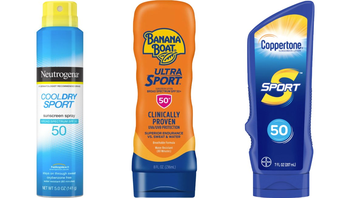 item 2, Gallery image. (Left to right) Neutrogena Cool Dry Sport Water-Resistant Sunscreen Spray; Banana Boat Ultra Sport Sunscreen Lotion SPF 50+; Coppertone Sport Sunscreen Lotion SPF 50