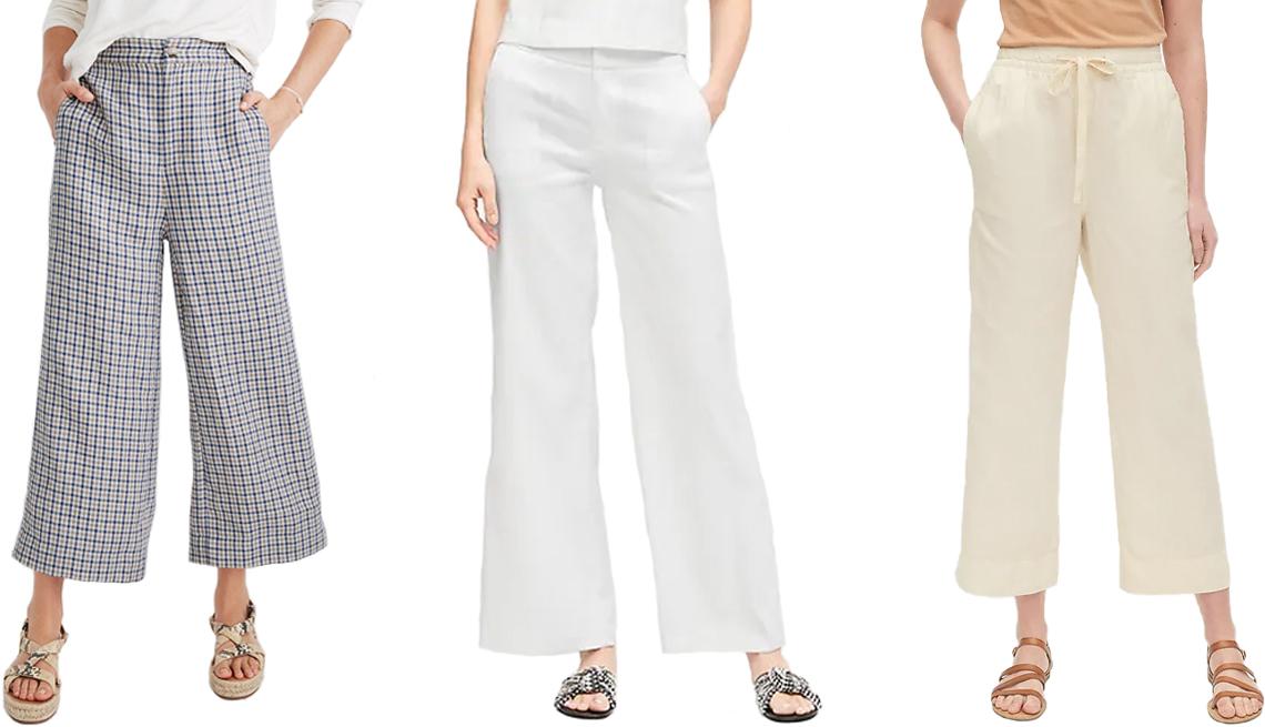 item 9 of Gallery image - (De izquierda a derecha) Pantalones Madewell Linen Huston Button-Front Crop Pants in Check; Banana Republic High-Rise Wide-Leg Linen-Cotton Pant en blanco; Gap Linen Wide-Leg Pant en color Ivory Cream Frost