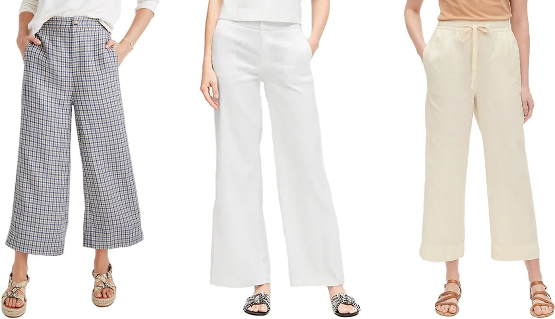 item 9, Gallery image. (Left to right) Madewell Linen Huston Button-Front Crop Pants in Check; Banana Republic High-Rise Wide-Leg Linen-Cotton Pant in White; Gap Linen Wide-Leg Pant in Ivory Cream Frost