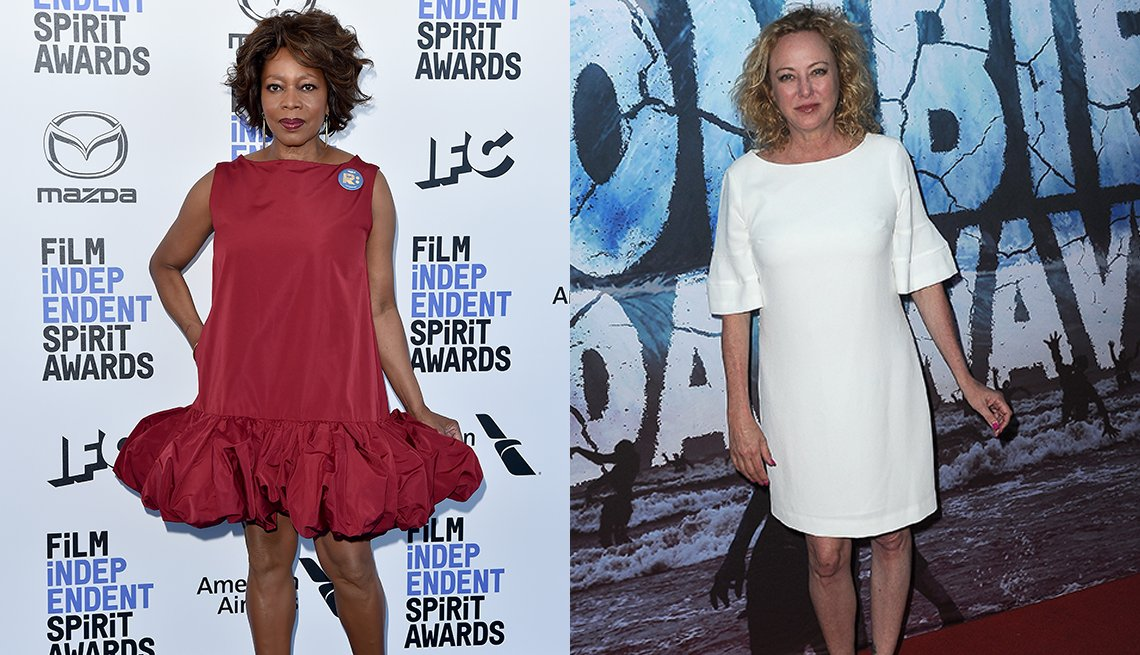 item 5 of Gallery image - Alfre Woodard wearing a red dress and Virginia Madsen in a white dress