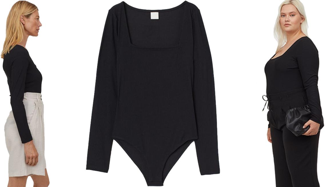 item 4 of Gallery image - Un H&M Ribbed Jersey Bodysuit demostrado por una modelo (izq.) y la prenda de vestir sola (centro); H&M+ Ribbed Jersey Bodysuit (der.)