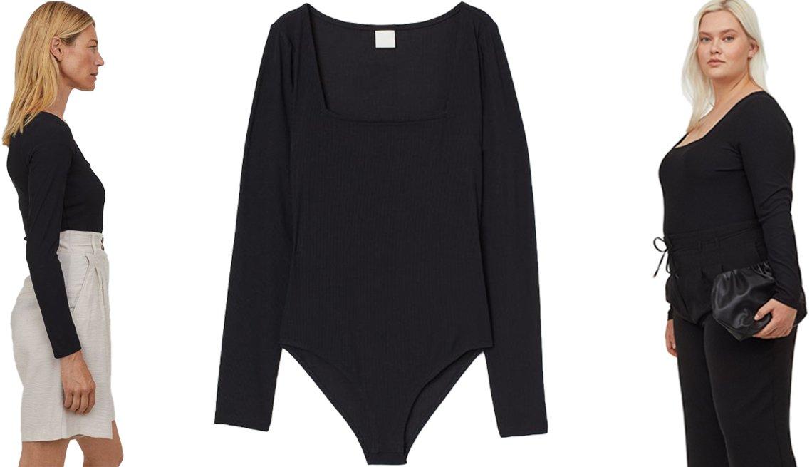 item 4, Gallery image. Un H&M Ribbed Jersey Bodysuit demostrado por una modelo (izq.) y la prenda de vestir sola (centro); H&M+ Ribbed Jersey Bodysuit (der.)