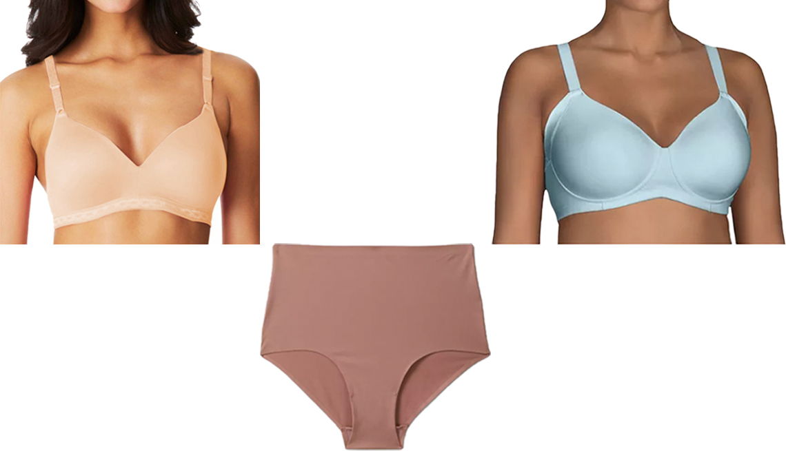 item 1 of Gallery image - Warners Cloud 9 Wireless Contour Bra 1269 Vanity Fair Beauty Back Full Figure Wirefree Extended Side and Back Smoother Bra Auden Womens Bonded Micro Briefs