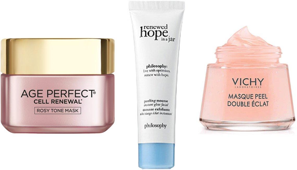 item 2, Gallery image. (De izquierda a derecha) Mascarilla L'Oréal Age Perfect Cell Renewal Rosy Tone Mask; Espuma Philosophy Renewed Hope in a Jar Peeling Mousse; Mascarilla Vichy Double Glow Facial Peel Mask