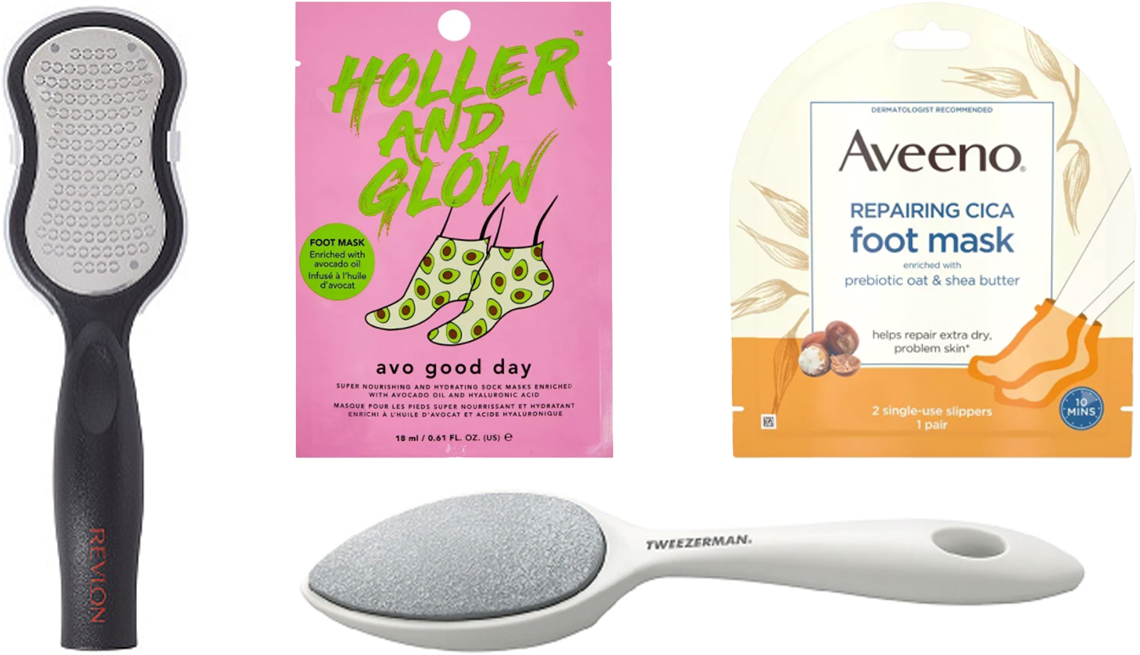 item 9 of Gallery image - Revlon Callus Remover with Catcher Holler and Glow Avo Good Day Nourishing and Hydrating Foot Mask Aveeno Repairing CICA Moisturizing Foot Mask with Oat Tweezerman Sole Smoother Antibacterial Stone