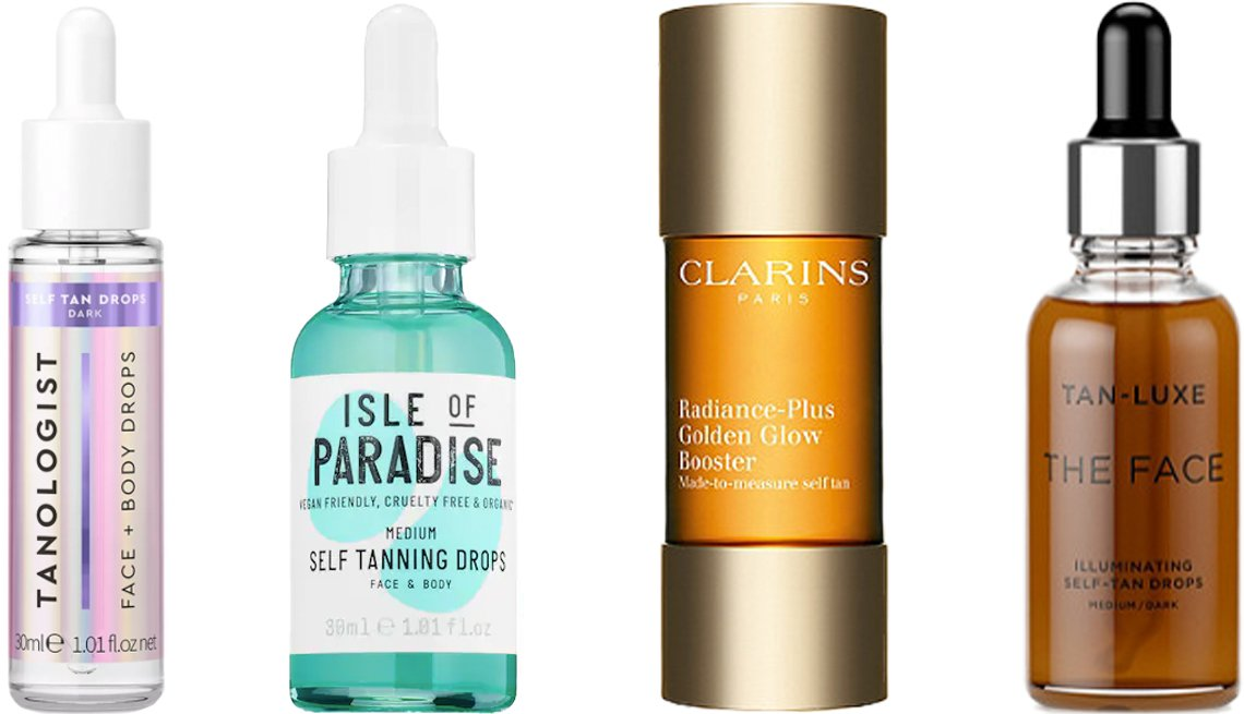 item 7, Gallery image. (De izquierda a derecha) Gotas bronceadoras Tanologist Drops Sunless Tanning Treatments; Isle of Paradise Self Tanning Drops; Clarins Radiance-Plus Golden Glow Booster; Tan-Luxe The Face Illuminating Self-Tan Drops