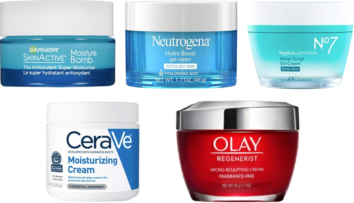 item 2, Gallery image. (Clockwise from top left) Garnier SkinActive Gel Face Moisturizer with Hyaluronic Acid; Neutrogena Hydro Boost Gel-Cream for Extra Dry Skin; No7 HydraLuminous Water Surge Gel Cream for Drier Skin; Olay Regenerist Micro-Sculpting Cream; CeraVe Moisturizing Cream for Normal to Dry Skin