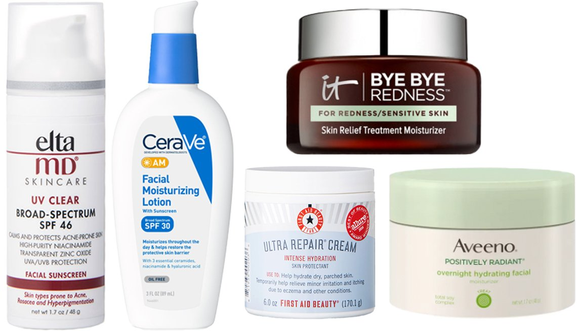 item 7 of Gallery image - EltaMD UV Clear Broad-Spectrum SPF 46 Sunscreen; CeraVe AM Facial Moisturizing Lotion with Sunscreen SPF 30; First Aid Beauty Ultra Repair Cream; IT Cosmetics Bye Bye Redness Sensitive Skin Moisturizer; Aveeno Positively Radiant Overnight Hydrating Facial