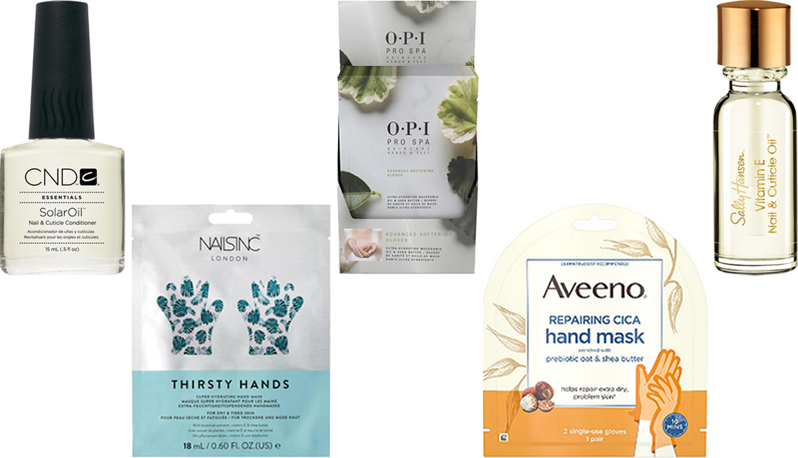 item 8 of Gallery image - C N D Solar Oil Nail and Cuticle Conditioner Nails Inc Thirsty Hands Super Hydrating Hand Mask O P I Pro Spa Advanced Softening Gloves Aveeno Repairing CICA Hand Mask Sally Hansen Vitamin E Nail and Cuticle Oil