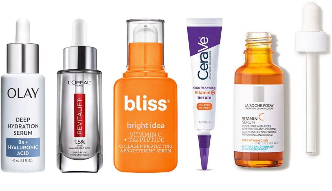item 5, Gallery image. (Left to right) Olay Deep Hydration Serum - Vitamin B3 + Hyaluronic Acid; L'Oréal Paris Revitalift Derm Intensives Hyaluronic Acid Facial Serum; Bliss Bright Idea Vitamin C Tri-Peptide Serum; CeraVe Skin Renewing Vitamin C Face Serum with Hyaluronic Acid; La Roche-Posay Pure Vitamin C Face Serum