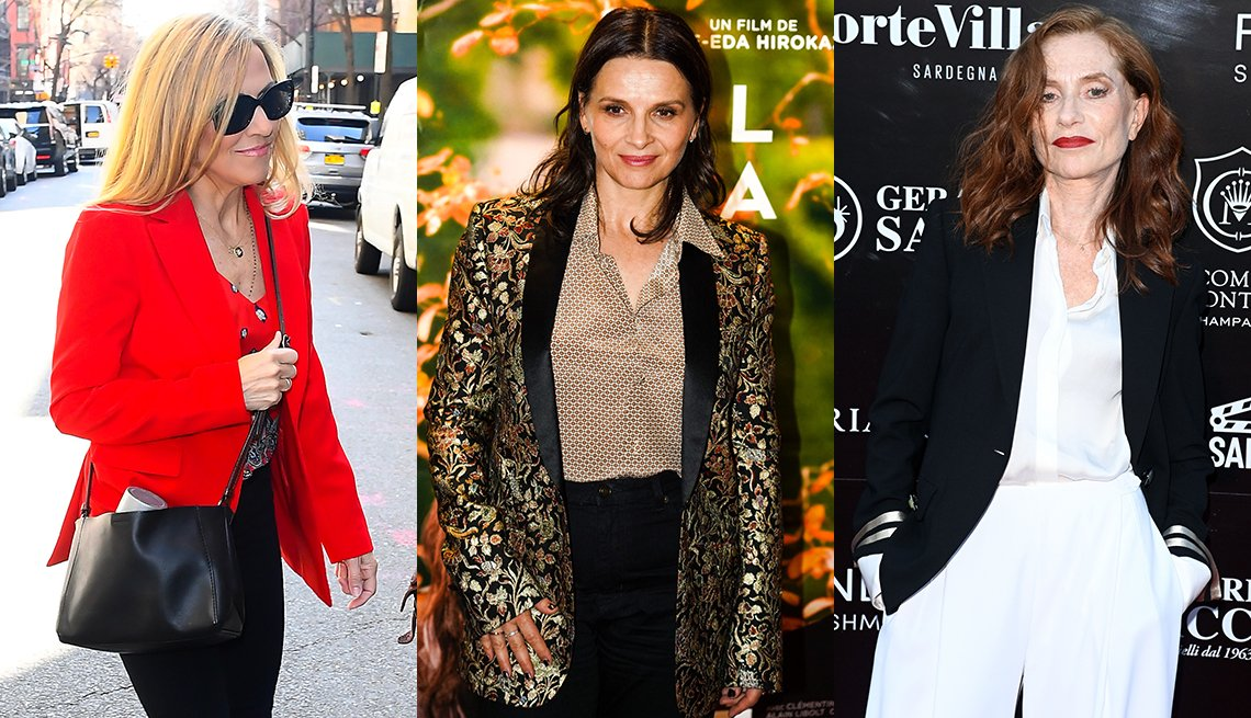 item 10 of Gallery image - Side by side images of Sheryl Crow Juliette Binoche and Isabelle Huppert all wearing blazers