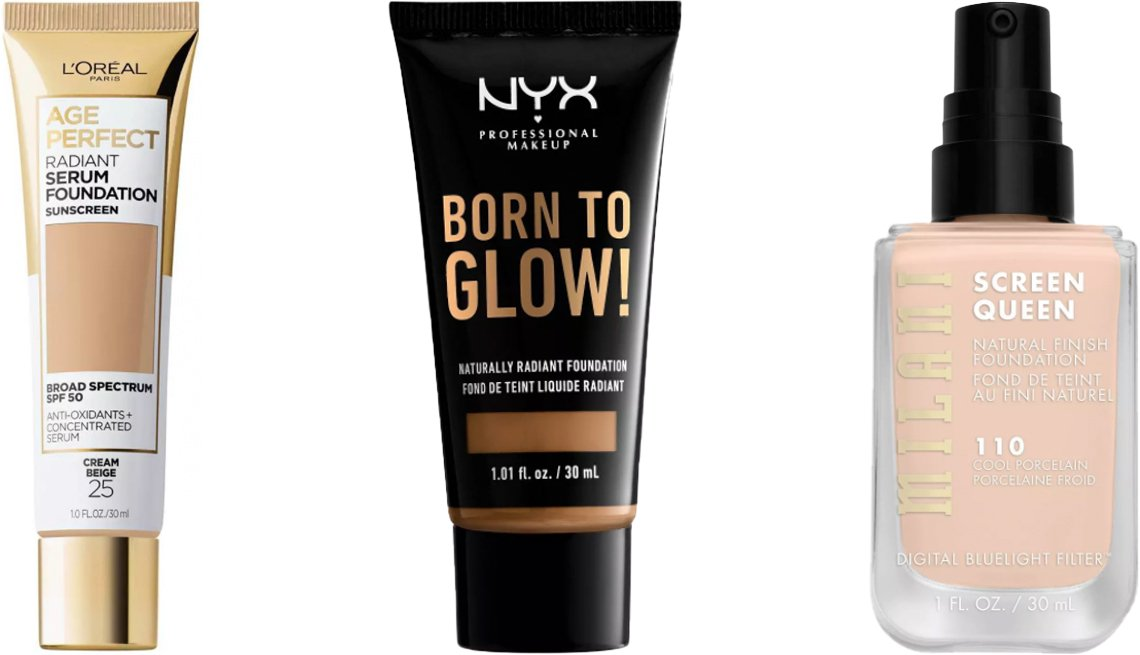 item 8 of Gallery image - L'Oréal Paris Age Perfect Radiant Serum Foundation with SPF 50; NYX Professional Makeup Born to Glow! Radiant Foundation; Milani Screen Queen Foundation