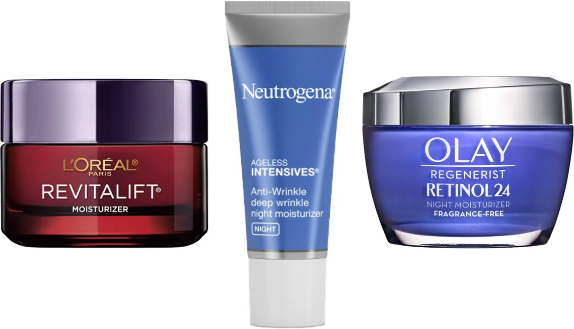 item 4, Gallery image. (Left to right) L'Oreal Paris Revitalift Triple Power Deep-Acting Moisturizer; Neutrogena Rapid Wrinkle Repair Hyaluronic Acid & Retinol Cream; Olay Regenerist Retinol24 Night Moisturizer