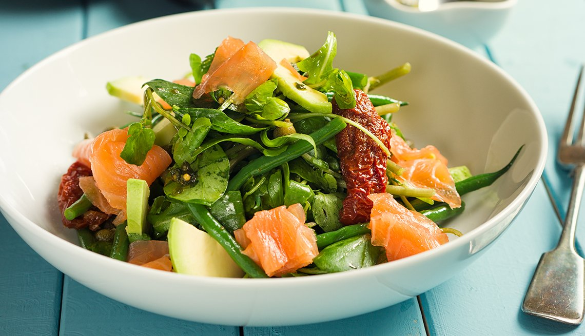 item 11 of Gallery image - A healthy summer salad with smoked salmon, greens, tomatoes and avacado
