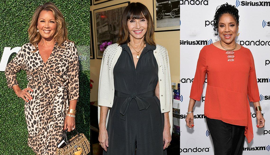 item 2, Gallery image. (De izq. a der.) Vanessa Williams (izq.) y Mary Steenburgen (centro) llevan puestos vestidos con cuello en V, mientras que Phylicia Rashad trae una blusa de cuello amplio.