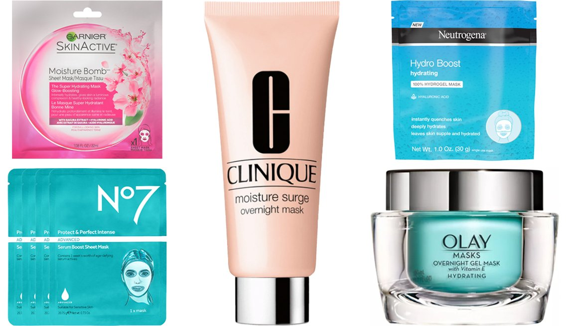 item 1 of Gallery image - Garnier Skin Active Moisture Bomb Sheet Mask Number 7 Protect and Perfect Advanced Serum Boost Sheet Mask Clinique Moisture Surge Overnight Mask Neutrogena Moisturizing Hydro Boost Hydrating Face Mask Olay Hydrating Overnight Gel Mask with Vitamin E