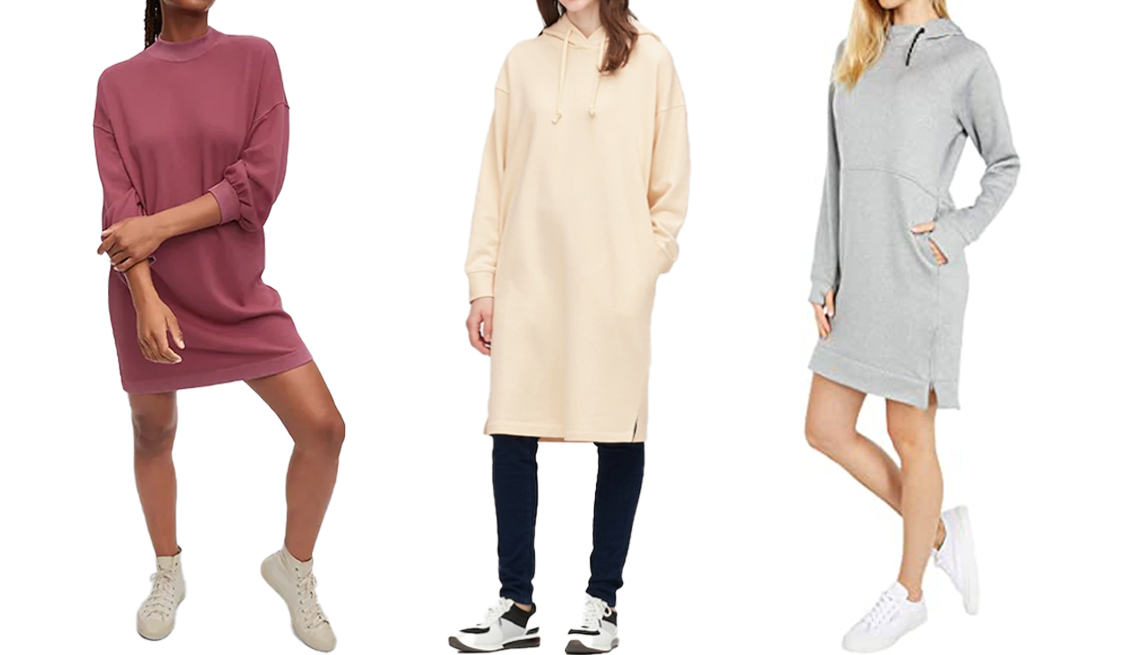 item 5 of Gallery image - (De izquierda a derecha) Vestido estilo camiseta de vellón con cuello redondo de Gap; vestido sudadera de manga larga con capucha de Uniqlo; vestido sudadera con capucha de Burton Oak