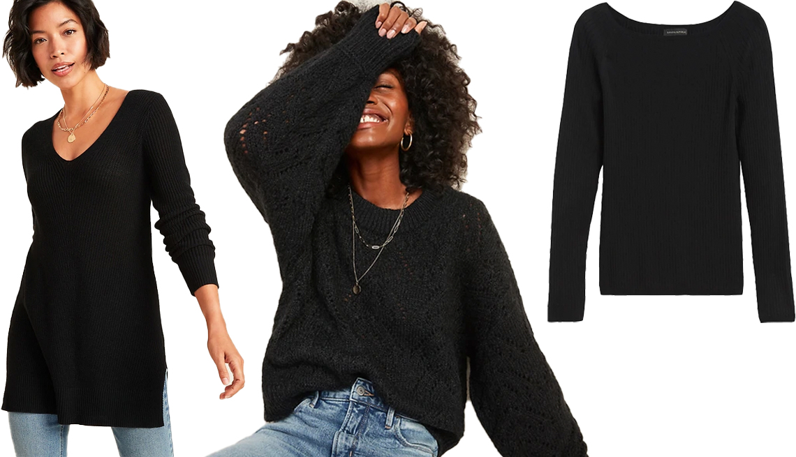 item 4, Gallery image. (Left to right) Old Navy Textured V-Neck Sweater Tunic for Women in Black Jack; Old Navy Cozy Pointelle-Knit Crew-Neck Sweater for Women in Black Jack; Banana Republic Boat Neck Sweater Top in Black
