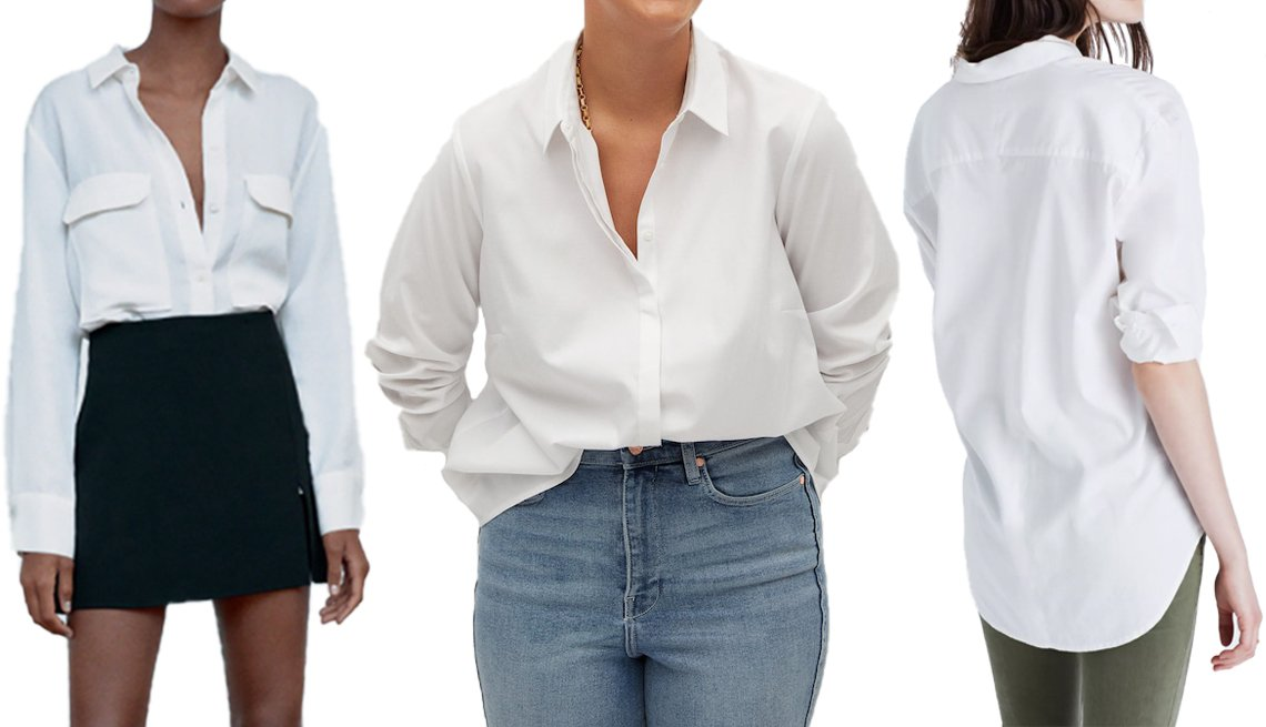 item 2, Gallery image. (Left to right) Zara Flowy Blouse with Pockets In Oyster White; Violeta by Mango Plus-Size Oxford Shirt in White; Madewell Drapey Oversized Boyshirt in Pure White