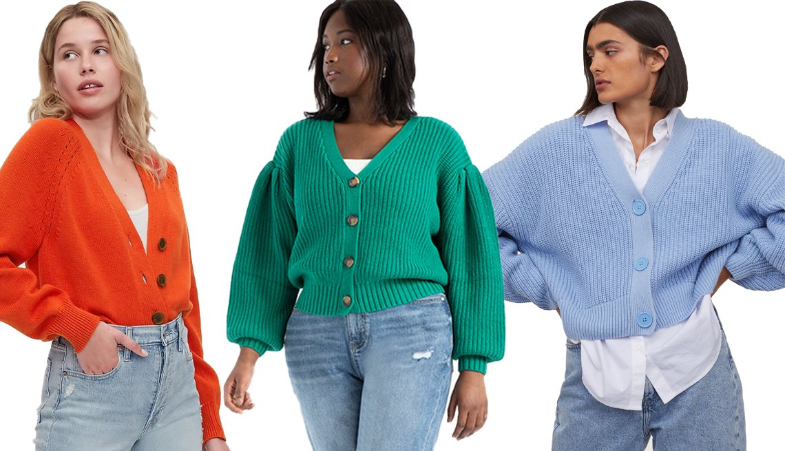 item 6, Gallery image. (Left to right) Gap Slouchy Cardigan in Grenadine Orange; Eloquii Sweater Cardigan with Pleated Sleeve in Dark Green; H&M Rib-Knit Cardigan in Light Blue