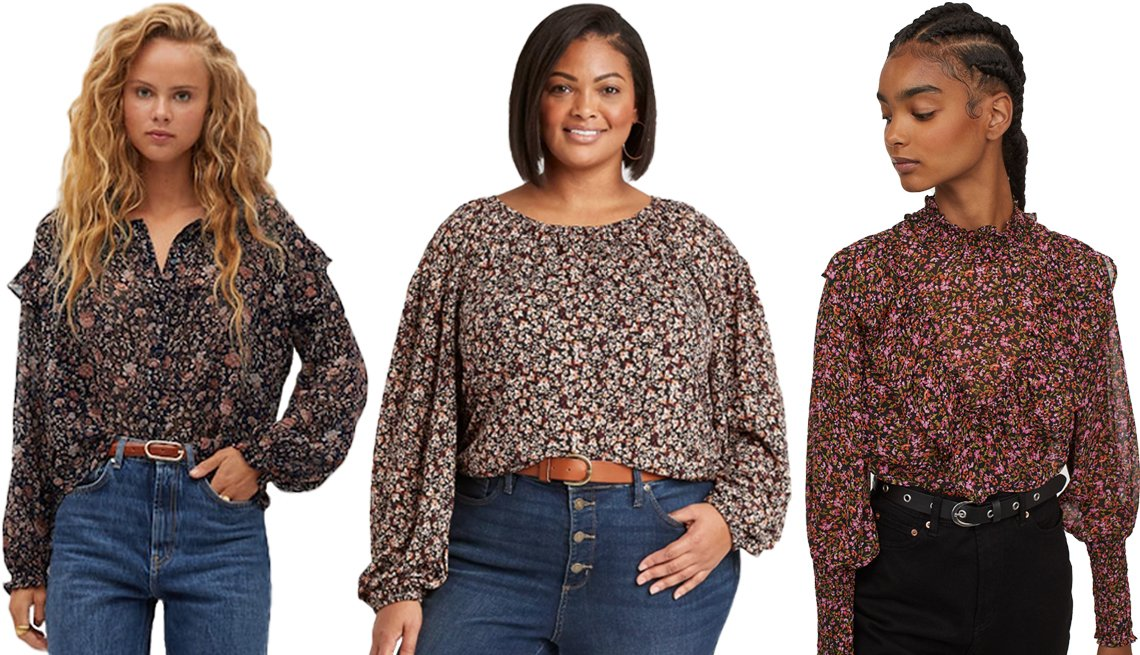 item 2, Gallery image. (Left to right) Mango Floral Print Blouse in Black; Ava &Viv Women's Plus Size Floral Print Long Sleeve Knit Blouse in Red; H&M Smock-detail Blouse in Black/Pink Floral