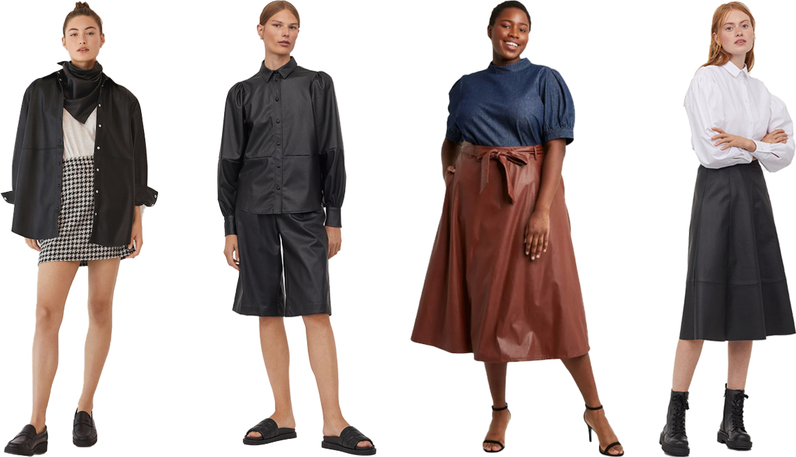 item 1, Gallery image. (Left to right) Mango Faux-Leather Shirt in Black; H&M Faux Leather Shirt in Black; Who What Wear Women's Faux Leather Circle Midi Skirt in Brown; H&M Faux Leather Skirt in Black