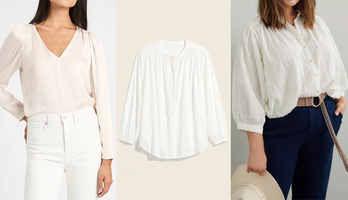 item 4, Gallery image. (Left to right) Banana Republic Soft Satin Puff-Sleeve Top in White; Old Navy Oversized Textured Clip-Dot Button-Down Blouse for Women in Calla Lily White; Anthropologie The Tavi Buttondown in Ivory