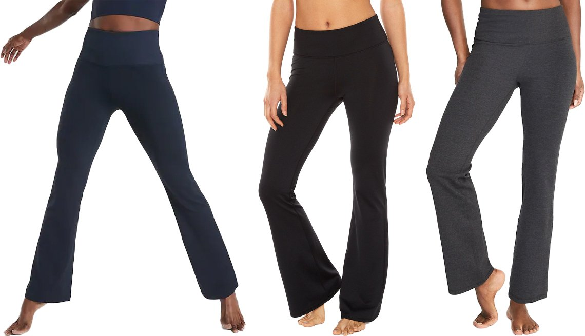 item 2, Gallery image. (Left to right) Athleta Studio Flare Pant; Gaiam Zen Bootcut Yoga Pants; Old Navy High-Waisted Slim Boot-Cut Yoga Pants for Women