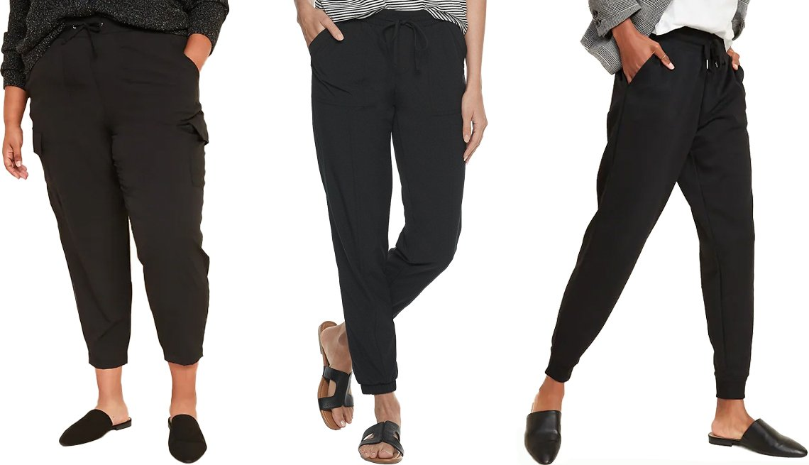 item 1, Gallery image. (Left to right) Old Navy High-Waisted StretchTech Utility Plus-Size Ankle Pants in BlackJack; Sonoma Goods for Life Travel Jogger Pants in Black; Old Navy Mid-Rise Tapered-Leg Jogger Pants for Women in BlackJack