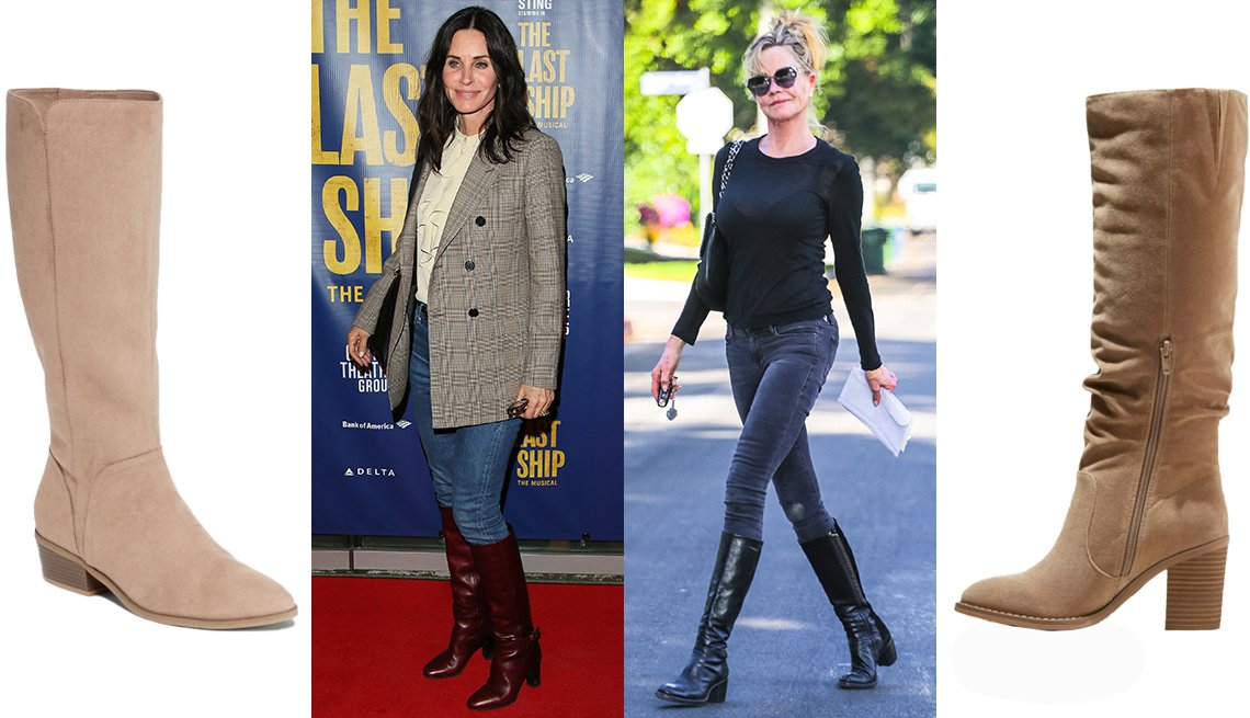 item 8, Gallery image. (Left to right) Old Navy Faux-Suede Tall Boots for Women in Light Taupe Brown; Courteney Cox; Melanie Griffith; Universal Thread Lainee Heeled Scrunch Fashion Boots in Taupe