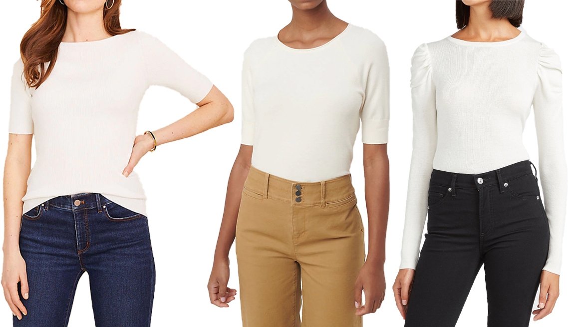 item 6 of Gallery image - Ann Taylor Boatneck Perfect Pullover in Winter White; Loft Elbow Sleeve Sweater Tee in Whisper White; Express Ruched Sleeve Crew Neck Sweater in Ivory 3