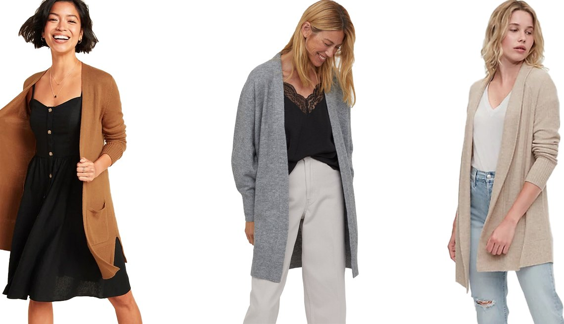 item 10, Gallery image. (Left to right) Old Navy Long-Line Open-Front Sweater for Women in Warm Coffee; H&M Long Cardigan in Gray Melange; Gap True Soft Open Front Cardigan in Oatmeal Beige