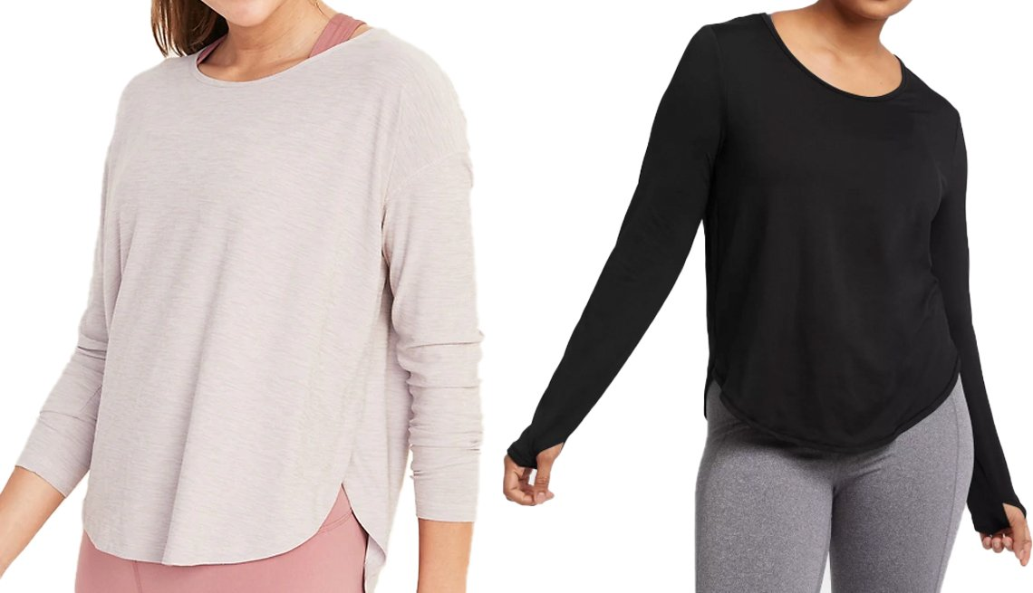 item 6, Gallery image. Old Navy Breathe ON Long-Sleeve Performance Top for Women (left) and All in Motion Women's Long Sleeve Essential T-Shirt