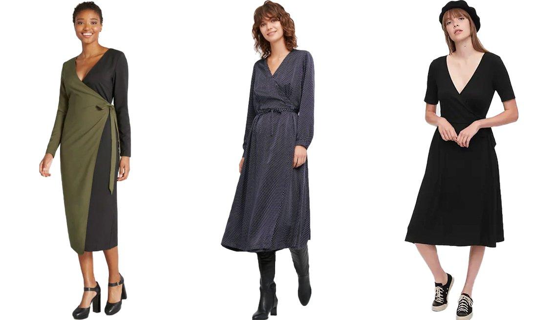 item 8, Gallery image. (Left to right) Hutch Modern Precision Midi Wrap Dress in Black/Green; Ines de la Fressange Silk Printed Wrap Dress in 69 Navy; Gap Front Wrap Midi Dress in True Black